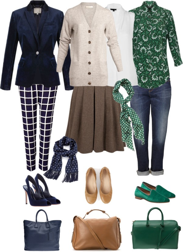 Navy and green work wardrobe